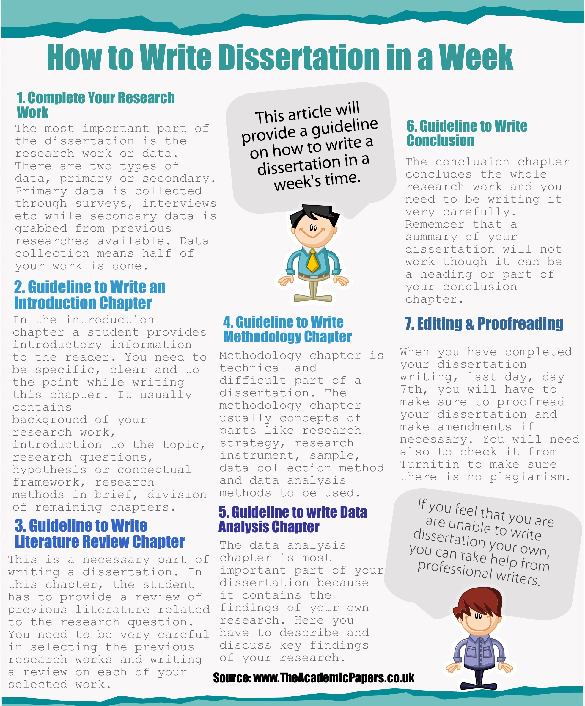 write a dissertation in a week Writing a dissertation can be, and quite often is, the biggest  one chapter for  comments and pick up the prior week's chapter to start editing.